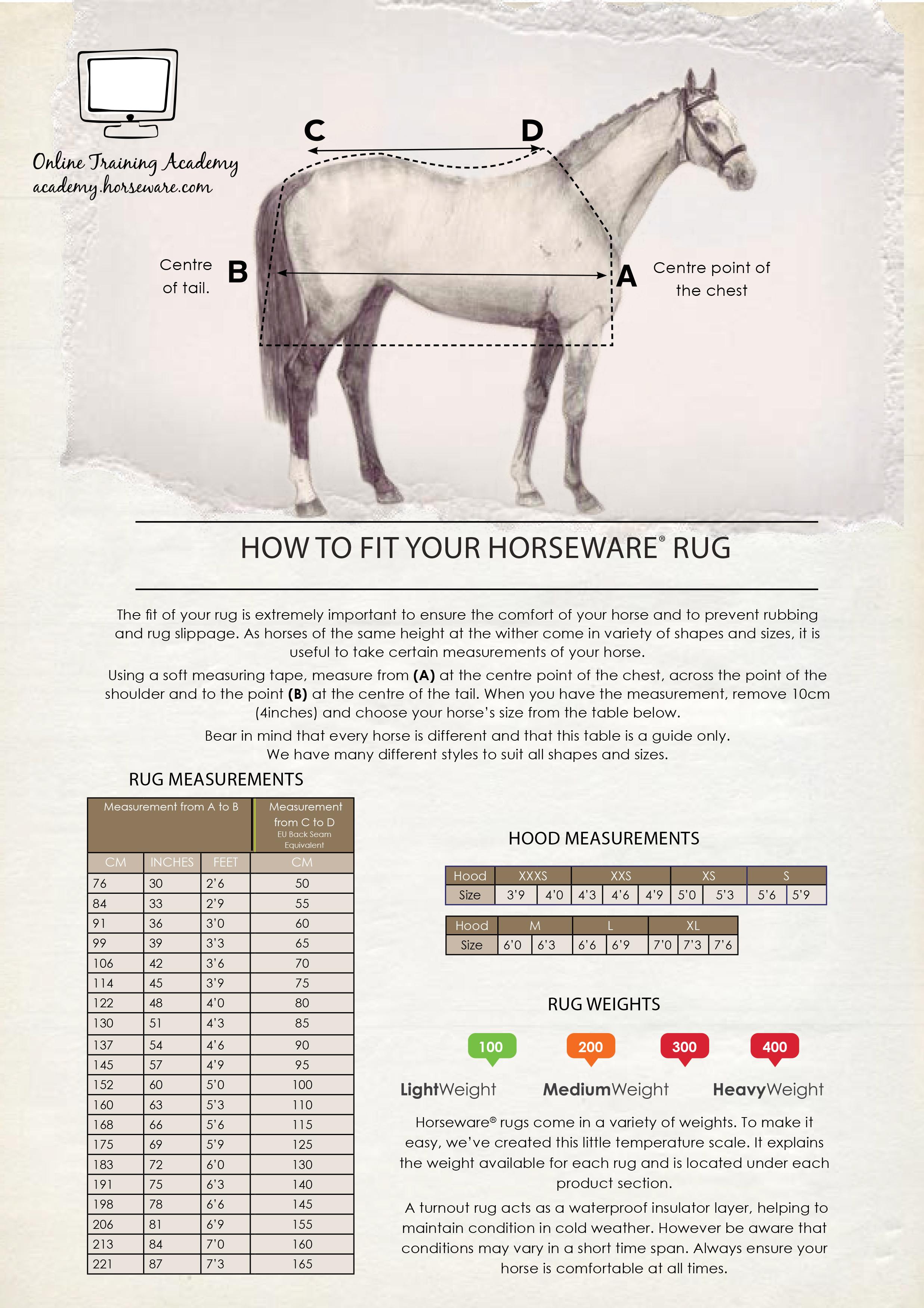Horseware Maattabel