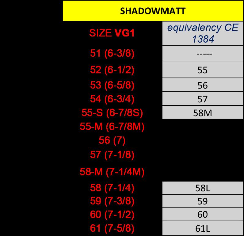 Shadowmatt Liner VG-1 Omzettingstabel
