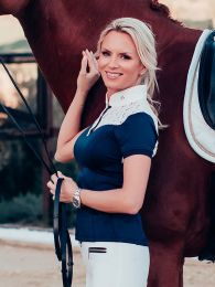 Equestrian Stockholm wedstrijdshirt Champion Navy White