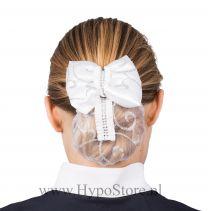 Nilette haarnetje met strik en glitters wit