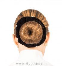 Nilette wokkel zwart fluweel met strass steentjes