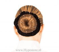Nilette wokkel zwart fluweel met strass steentjes rondom