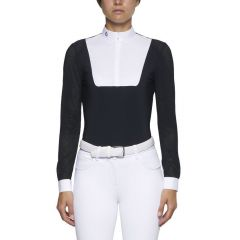 Cavalleria Toscana SS'21 Perforated Mix L/S Jersey Zip Competition Shirt